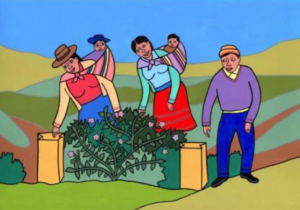 "Illustration in the manual ""Farmers casting their votes"""