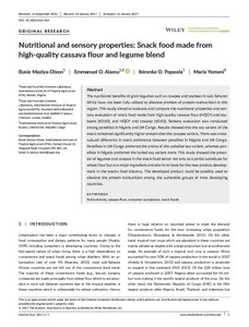 Nutritional and sensory properties: snack food made from high-quality cassava flour and legume blend