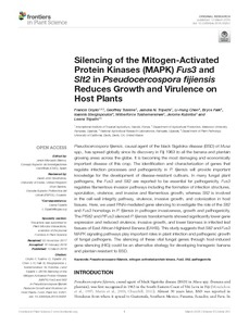 Silencing of the mitogen-activated protein kinases (MAPK) fus3 and slt2 in pseudocercospora fijiensis reduces growth and virulence on host plants