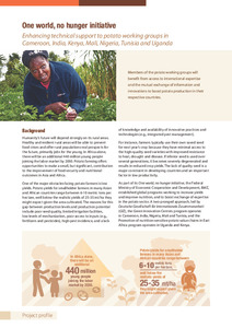 One world, no hunger initiative. Enhancing technical support to potato working groups in Cameroon, India, Kenya, Mali, Nigeria, Tunisia and Uganda. Project profile.