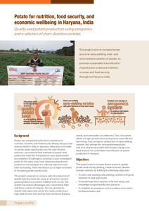 Potato for nutrition, food security, and economic wellbeing in Haryana, India. Project profile.