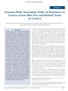 Genome-wide association study of resistance to cassava green mite pest and related traits in cassava