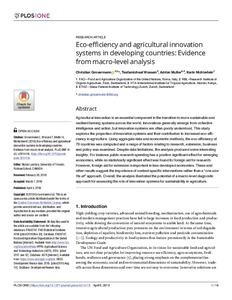 Eco-efficiency and agricultural innovation systems in developing countries: evidence from macro-level analysis