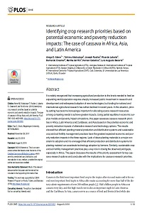 Identifying crop research priorities based on potential economic and poverty reduction impacts: The case of cassava in Africa, Asia, and Latin America