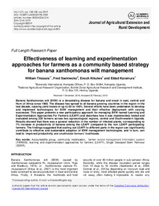 Effectiveness of learning and experimentation approaches for farmers as a community based strategy for banana xanthomonas wilt management