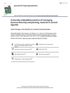 Culturally embedded practices of managing banana diversity and planting material in central Uganda