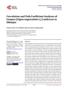 Correlation and path coefficient analyses of cowpea (Vigna unguiculata L.) landraces in Ethiopia
