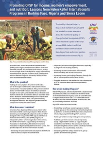 Promoting OFSP for income, women's empowerment, and nutrition: Lessons from Helen Keller International's Programs in Burkina Faso, Nigeria and Sierra Leone.