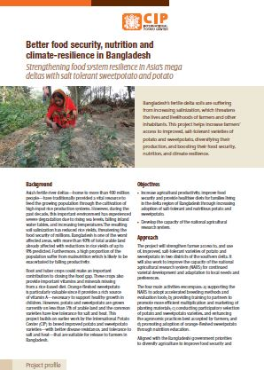 Better food security, nutrition and climate-resilience in Bangladesh. Project profile.