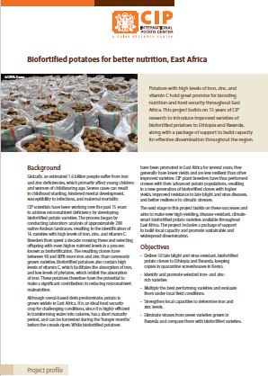 Biofortified potatoes for better nutrition, East Africa. Project profile.