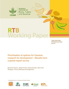 Prioritization of options for cassava research for development – Results from a global expert survey.